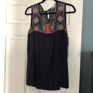 Embroidered tank blouse